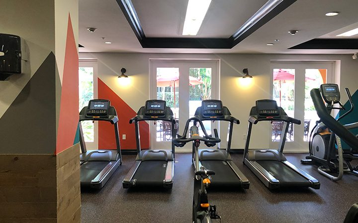 Treadmills in Silicon Beach apartment Playa del Oro's indoor fitness center
