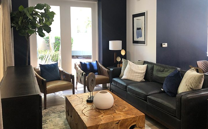 Furnished lounge interior at Playa del Rey apartment Playa del Oro with view