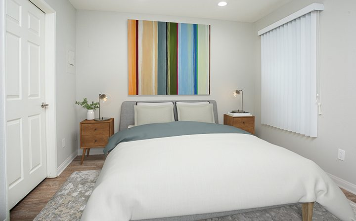3D render of bedroom with wall art at Playa Marina, Playa Vista apartments in Los Angeles