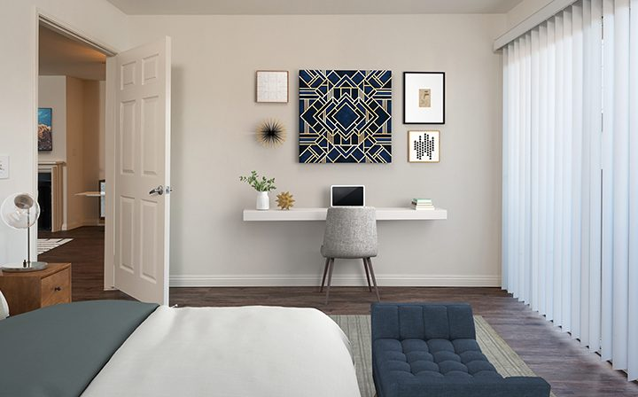 3D render of bedroom with wall art at Playa Marina, Los Angeles apartments in Playa Vista
