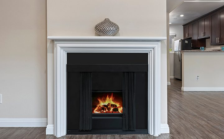 Fireplace with vase on top in apartment at Playa Marina, Los Angeles apartments in Playa Vista