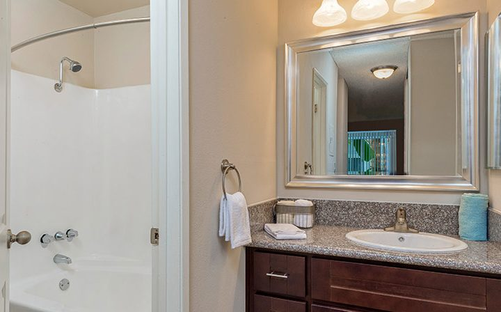 Furnished bathroom with shower/tub combo at Playa Pacifica, Los Angeles apartments in Playa del Rey