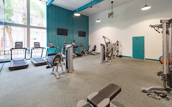 Treadmills in large fitness center at Playa Pacifica, Los Angeles apartments in Playa del Rey