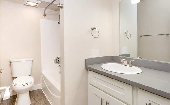 Unfurnished bathroom with white walls at Playa Pacifica, Playa del Rey apartments in Los Angeles
