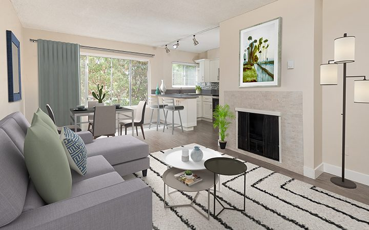 3D render of living room with fireplace at Playa Pacifica, Playa del Rey apartments in Los Angeles