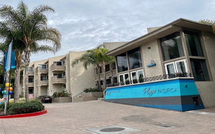 Streetside view of Playa Pacifica's resident services, Los Angeles apartments in Playa del Rey