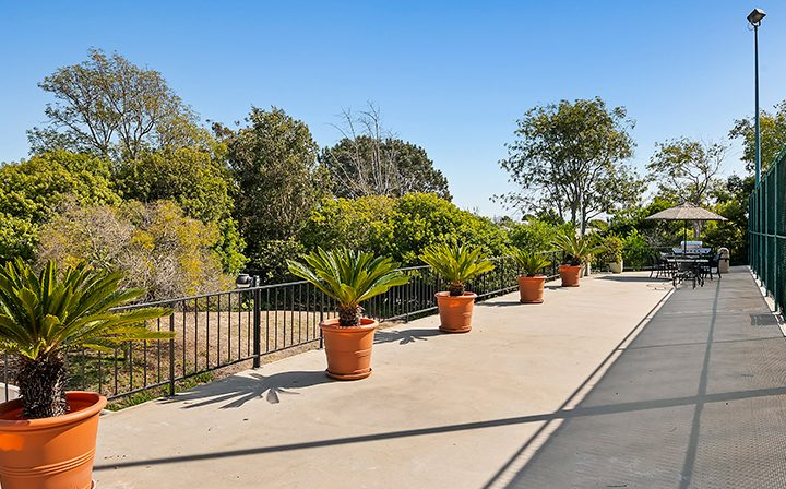 Cement walkway with potted plants at Playa Pacifica, Playa del Rey apartments in Los Angeles