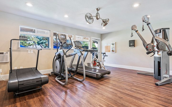 State-of-the-art fitness center with machines at Rancho Luna Sol, Fremont apartments in the Bay Area