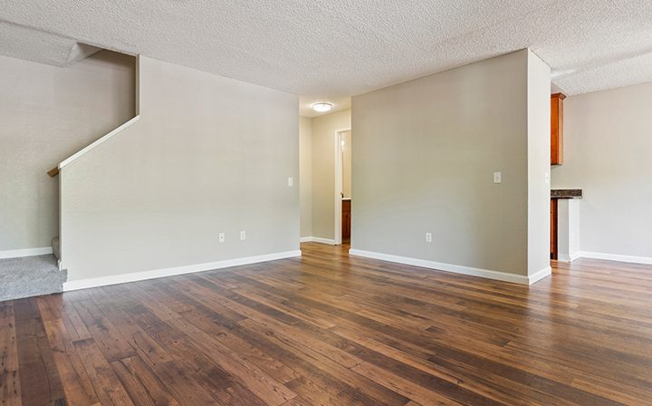 Unfurnished townhome living room