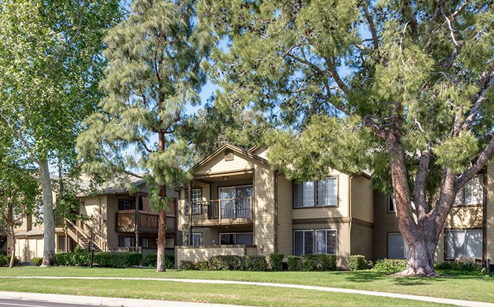 Exterior view of several Reserve at Chino Hills apartments with grassy field and tall shady trees