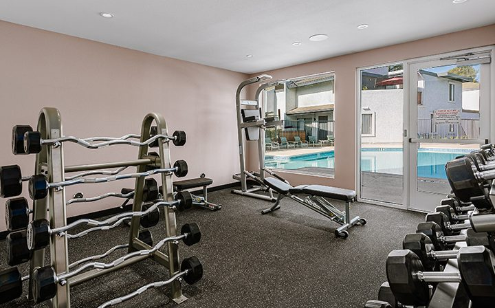 Weight racks with pool view in fitness center at the Reserve at South Coast apartments in Santa Ana