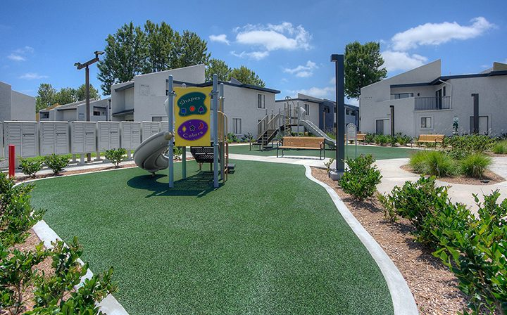 Child's playground at the Reserve at South Coast apartments in Orange County