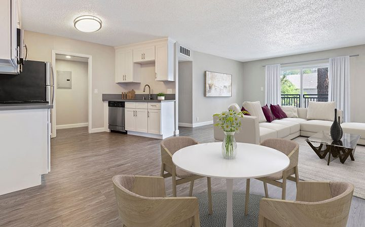 Furnished living room at the Reserve at Walnut Creek apartments