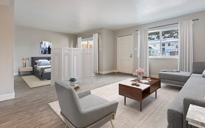 Digital render of a living room in apartments at the Reserve at Walnut Creek with a bedroom divider