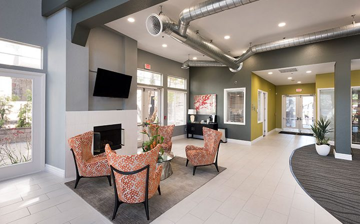 Clubhouse lobby entrance and seating at Bridgecourt, premier apartments in Emeryville