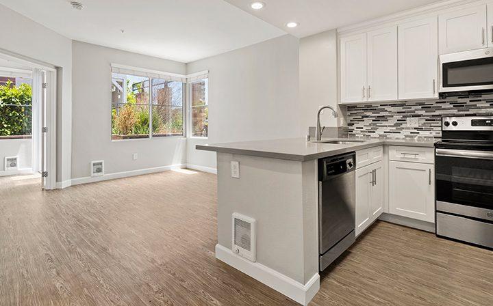 White kitchen in the 1x1 Bay Bridge floor plan at the Bridge at Emeryville apartments