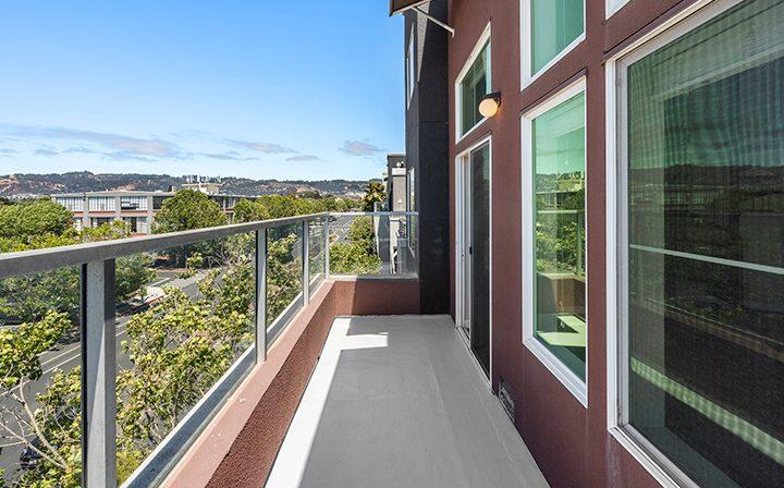 Balcony for a 2x2 Marina Loft floor plan unit at the Bridge at Emeryville apartments