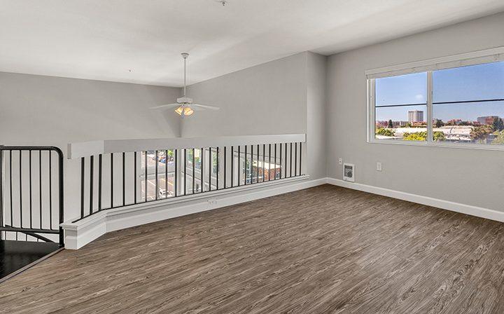 Upstairs loft area in the 2x2 Marina Loft floor plan at the Bridge at Emeryville apartments