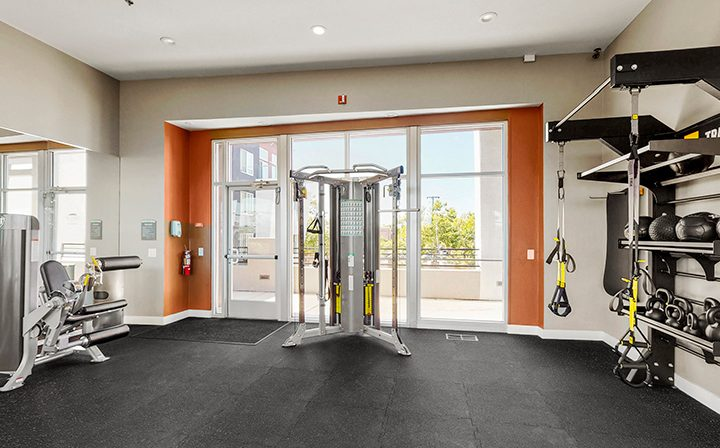 Weight machine in front of sunny window at the Bridge at Emeryville apartments community gym