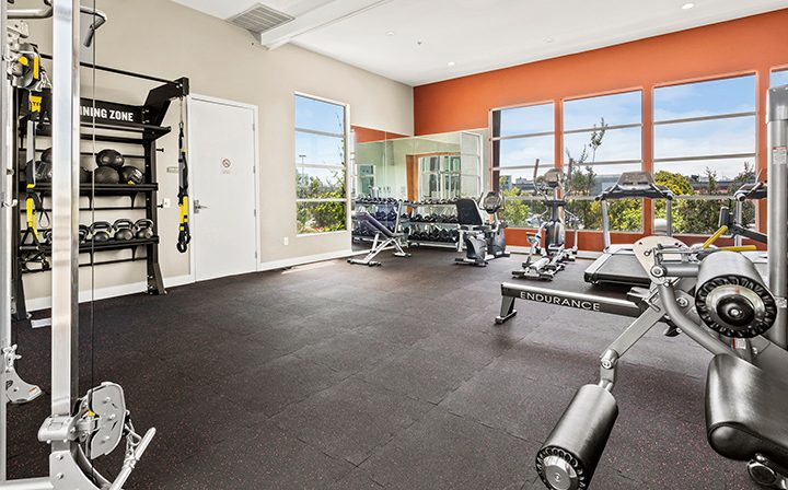 Fitness equipment in the on-site Bridge at Emeryville apartments community gym