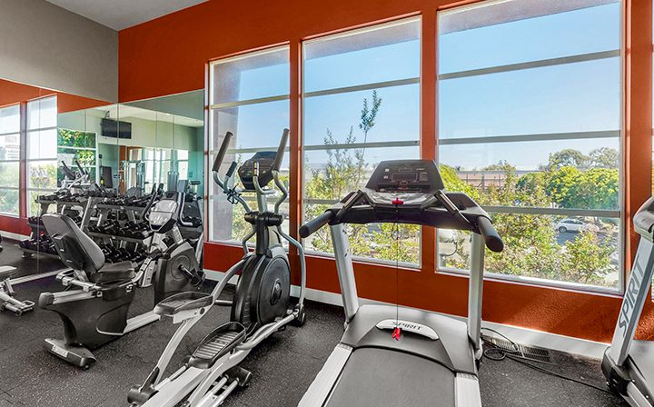 Treadmills in front of window view at the on-site Bridge at Emeryville apartments community gym