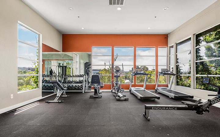 Sunny fitness center with machines and equipment at the Bridge at Emeryville apartments community