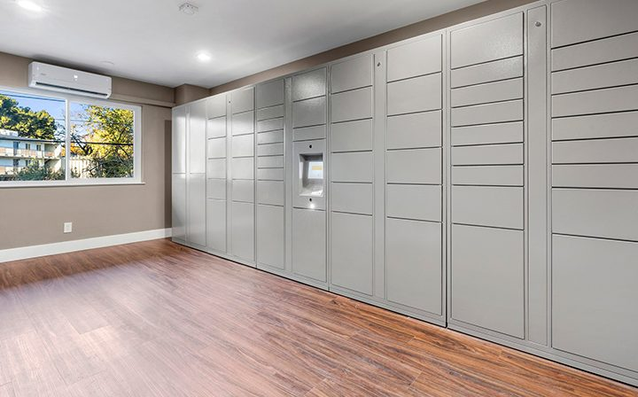 Package lockers offering secure access to residents at The Bridge at Walnut Creek apartments