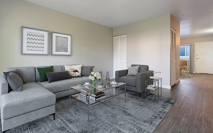 Model unit at The Bridge at Walnut Creek apartments depicting a furnished living room