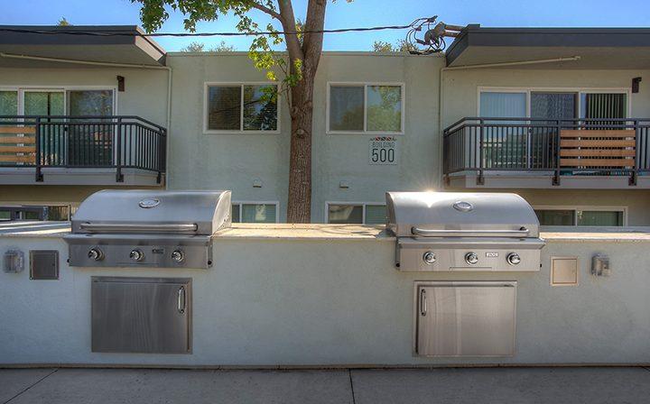 BBQ area with grills at The Bridge at Walnut Creek apartments