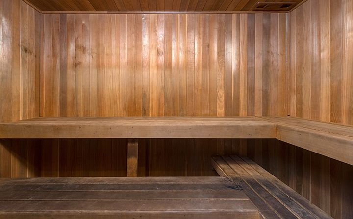 Wooden corner sauna at the Glendale apartments community The Howard