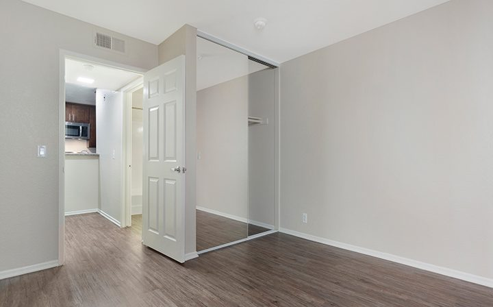 Hardwood floors in unfurnished bedroom at the West Los Angeles apartments community The Jeremy