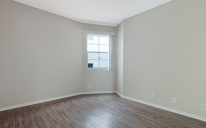 Unfurnished bedroom with hardwood floors at The Jeremy, apartments in West Los Angeles