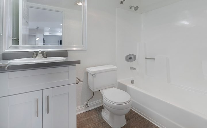 Unfurnished bathroom with shower/tub combination at The Jeremy, apartments in West Los Angeles