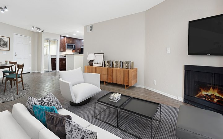 Furnished living room in model unit at the West Los Angeles apartments community The Jeremy