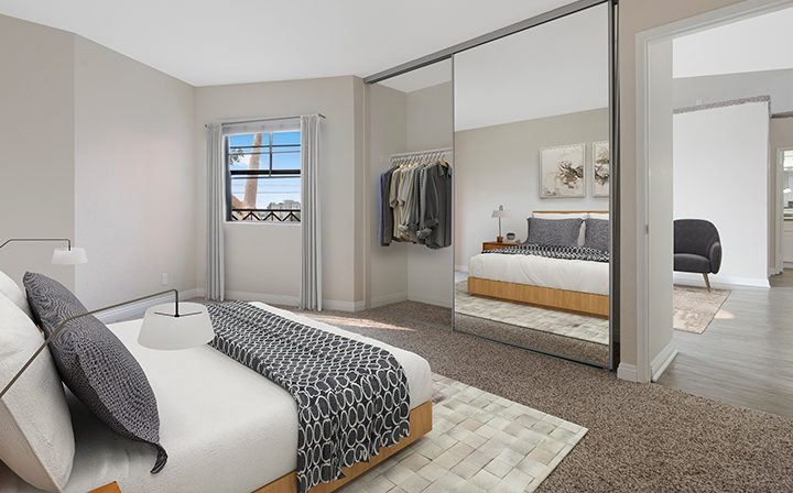 Furnished bedroom in model unit at the West Los Angeles apartments community The Jeremy