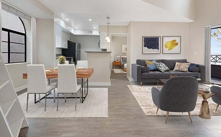 Furnished dining area in model unit at the West Los Angeles apartments community The Jeremy