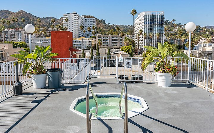 Spa on rooftop of The Jessica, apartments in Hollywood with a rooftop pool and more
