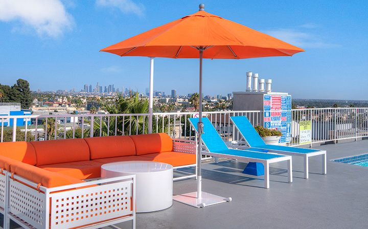 Rooftop lounge with stunning view of the city at the Hollywood apartments community The Jessica