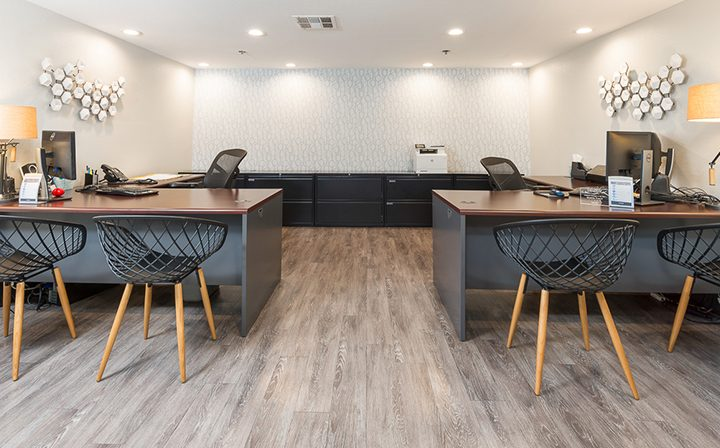 Well-lit, stylish and modern office area at the Hollywood apartments community The Joshua