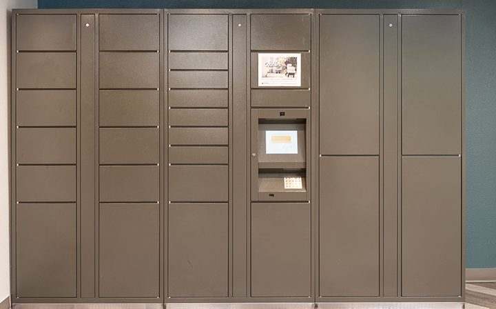 Secure package lockers for safe package pick-up at The Joshua, apartments in Hollywood