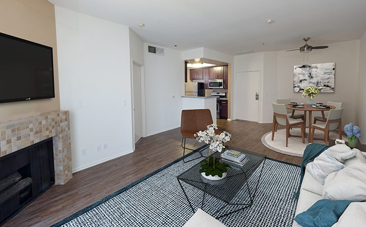 Furnished living room in a model unit at the Hollywood apartments community The Joshua