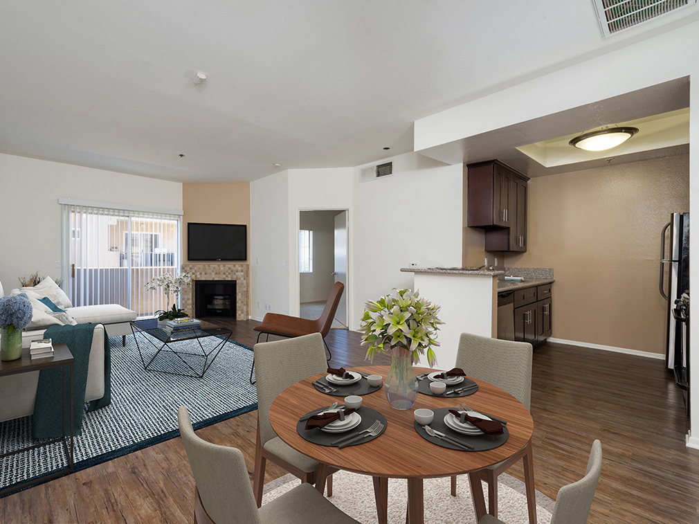 Furnished dining room in a model unit at the Hollywood apartments community The Joshua