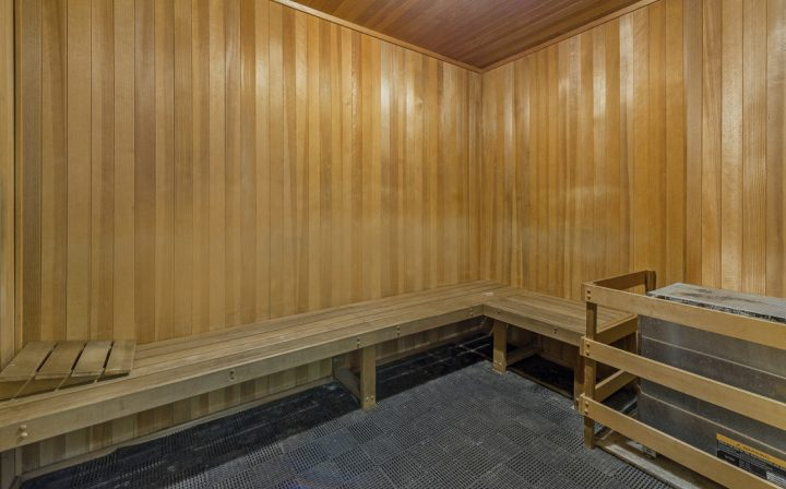 Large wood sauna with benches, shared amenity at The Palms, West Los Angeles apartments