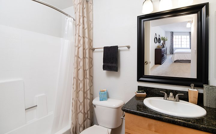 Furnished bathroom with black countertop at The Ranch at Moorpark, apartments in Moorpark