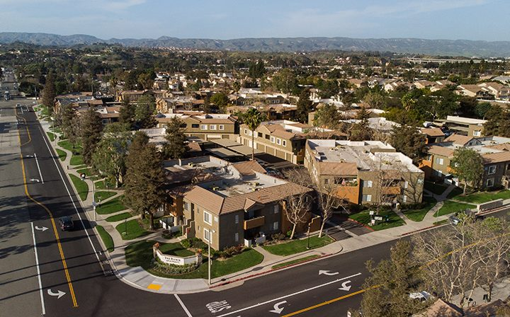 Aerial view of The Ranch at Moorpark, apartments in Moorpark, as well as surrounding neighborhood