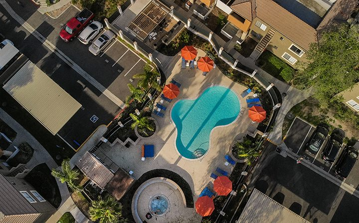 Aerial view of pool area and hot tub at The Ranch at Moorpark, apartments in Moorpark