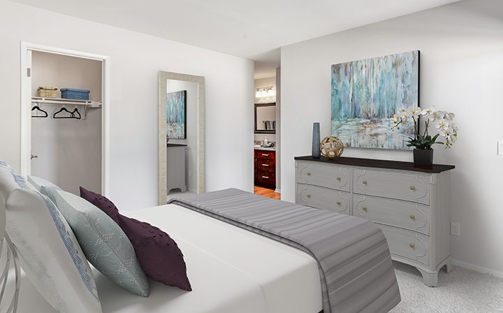 3D render of furnished bedroom with wall art at The Ranch at Moorpark, apartments in Moorpark