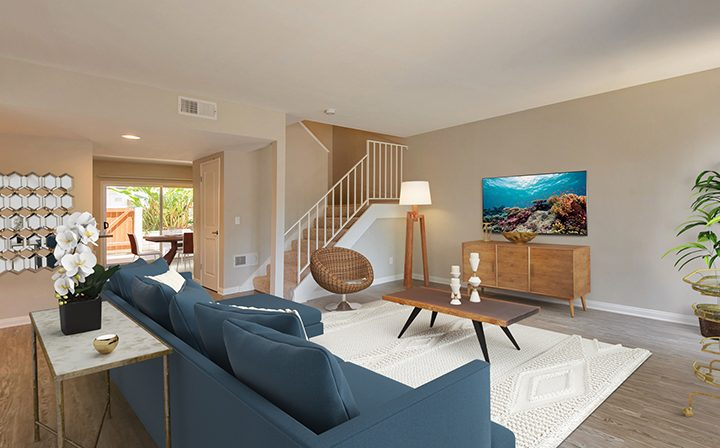 3D render of a sunny and spacious The Retreat at Thousand Oaks furnished apartment interior