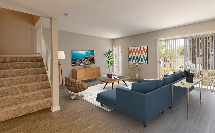 3D render: 2-story spacious furnished apartment interior at The Retreat at Thousand Oaks apartments