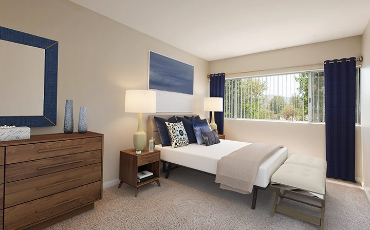 3D render: The Retreat at Thousand Oaks apartment furnished bedroom interior with mountain view